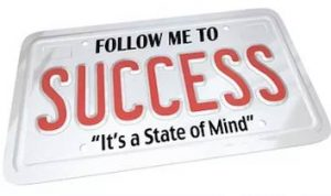 success is a state of mind license plate