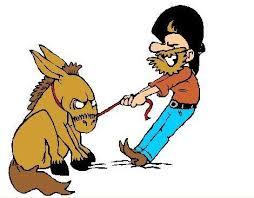 digging heels in cartoon